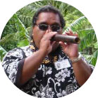 Richard Deleon playing flute